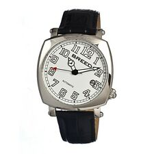 Breed Benny 0701 Mens Automatic Classic Dress Watch Leather Strap White Dial NEW
