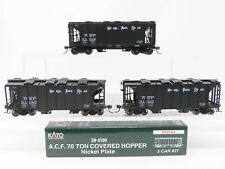 HO Scale KATO #38-0109 NKP Nickel Plate Road 70 Ton 2-Bay Covered Hopper 3-Pack
