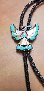 Vintage Inlay Zuni Knifewing Bolo Jewelry Collectibles