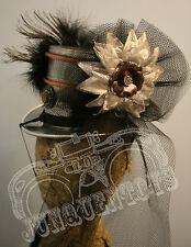Contessa ~ Metal Steampunk Riding Bonnet ~ Top Hat Veil Feather Silver Halloween
