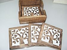 SET OF 4 COASTERS & TRAY MANGO WOOD TREE OF LOVE FAIR TRADE BROWN & CREAM TABLE