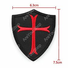 "Knights Templar Red Cross 3"" X 2.5"" Shield Military Embroidered Patch Badge BS5"