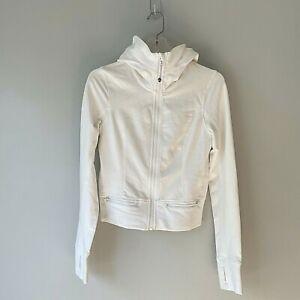 Lululemon 6 White Jacket Full Zip Pockets Stretch Panels Hooded Thumbholes