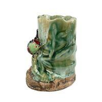Vintage Majolica Vase 3D Applied Sculpted Bird Leaves Flower Vine Branch Planter