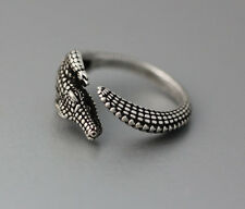 Crocodile Animal Ring Adjustable Silver Alligator Finger Wrap Size 7 to 11