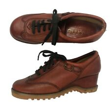 1970s Wedge Shoes / 70s Brown Leather Lace Up Buckle Platform Shoes / 8M