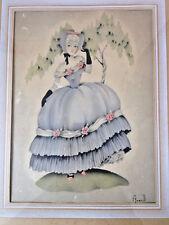 Vintage Victorian Southern Belle Floral Rose Woman Fashion Print Averill Framed