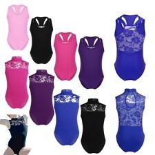 Kids Girls Ballet Leotard Lace Dance Dress Gymnastics Bodysuit Costume 3-12Y