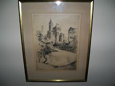 Original 1927 Anton Schutz Signed Etching Plaza Towers View From Central Park NY