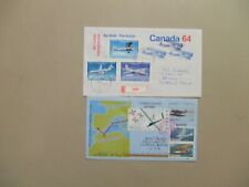 Canada & Spain AIRPLANE aerograms used Romania registered, Canada w/AIRP:ANE st