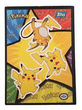 Pikachu and Raichu - Nintendo Stickers Topps Hasbro Vtg Old Card - Pokemon 1998