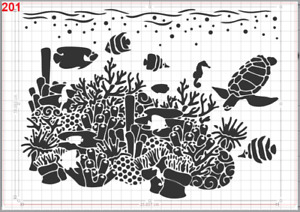 Sea Life Coral Reef Stencil MYLAR A4 sheet strong reusable Art Craft wall deco
