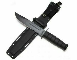 Ka-Bar 1214 Black Plain Serrated Combo Fixed Blade Combat Knife w Leather Sheath