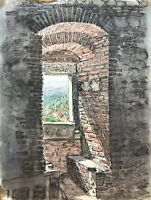 Karl Adser 1912-1995 Alte Festung Burg Gemäuer Blick auf Dorf im Tal Frankreich