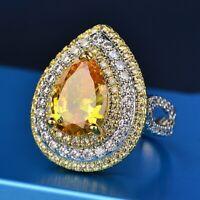 Luxury Pear Cut Citrine Gemstone Rings 925 Silver Women's Wedding Party Jewelry