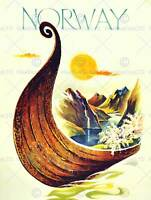 TRAVEL NORWAY SCANDINAVIA VIKING BOAT RIVER FINE ART PRINT POSTER 30x40cm CC1986