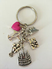 BIRTHDAY KEY RING TIBETAN SILVER 6 CELEBRATION CHARMS LOVELY GIFT OR PRESENT