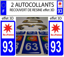 2 stickers plaque immatriculation auto TUNING DOMING RESINE ILE DE FRANCE DEP 93