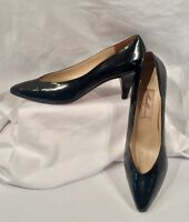 Women's Vintage AMALFI-Italy Black Patent Leather Pointed Toe Pumps-8.5AAA