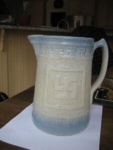 antique BLUE & WHITE STONEWARE PITCHER-Indian-Religious-Peace-Good Luck Symbol