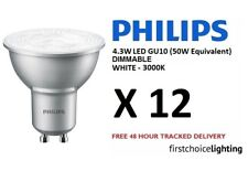 12 x Philips Master 4.3W (50W) DIMMABLE GU10 LED Spot Lamps Bulbs White