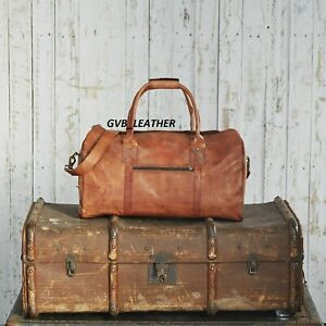 Men's genuine Leather vintage duffle travel gym weekend overnight Move on bag