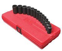 Sunex 13pc 3/8 Metric 12pt Point Semi Deep Impact Sockets Set Tools Drive 3338