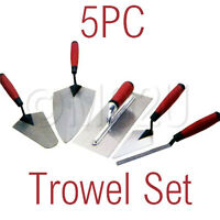 5 PIECE TRADESMAN TROWEL SET HAND BRICK PLASTERING BUILDER POINTING LAYING TOOL