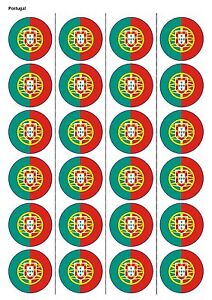 24X PRECUT PORTUGAL FLAG BIRTHDAY EDIBLE WAFER PAPER, CUPCAKE, CAKE TOPPERS 1219