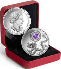 BIRTHSTONES DECEMBER TANZANITE 2016 SILVER $5COIN with CRYSTAL, Mintage 3000