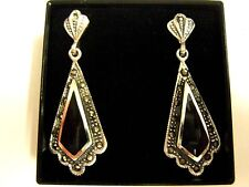 3.5cm Sterling Silver black Onyx gemstone Antique 20s style Dangle Drop Earrings