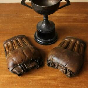 Vintage Antique Straw Filled Leather Fingerless Training Bag Boxing Gloves. MMA