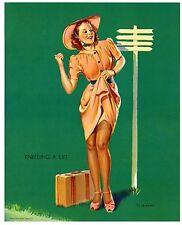 1940'S ORIGINAL ELVGREN PIN UP PIN-UP GIRL HITCH-HICKING KNEEDING LIFT EXC COND!