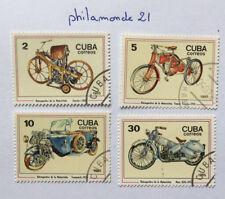 Lot 4 timbres Caraïbes FDC. YT CU 2635/38, Mi Cu 2954/57. Motorcycles. 1985