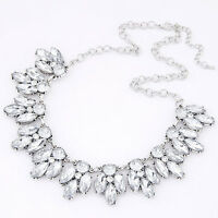 Womens Crystal Bib Collar Chunky Statement Pendant Choker Necklace silver Pro US