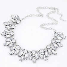 Womens Crystal Bib Collar Chunky Statement Pendant Choker Necklace silver Nice
