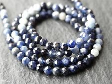 """2.5mm MICRO FACETED SHADED BLUE SAPPHIRE ROUNDS, 13"""" strand, 130 beads"""