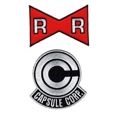 Capsule Corp. Red Ribbon Army Dragon Ball Z Iron On Patch Set 2pc (3.0 inch)