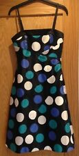 Coast Dress Black Spotted Circles Lined Removable Straps UK Size 10 - worn once