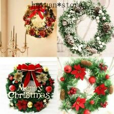 Christmas Xmas Door Wall Tree Bowknot Garland Wreath Hanging Ornament Decorated