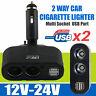 DC 12V Car Cigarette Lighter Adapter 2 Way Dual USB Plug Socket Charger Splitter