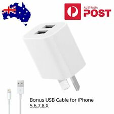 Dual Port USB Wall Charger Power Adapter & USB Cable for iPhone 5 6s 7 8 X iPad