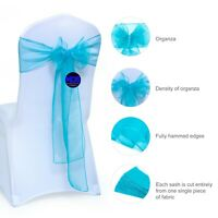 50PC Teal Organza Chair Bows Sashes For Wedding Banquet Party supply - FREE SHIP