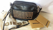 DIESEL BLACK LEATHER MINI STUDDED HANDBAG CLUTCH Dust Bag Card NWT