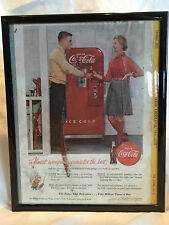 1955 Man and Lady Talking By Coca Cola Coke Vending Machine Nat Geo Framed Ad