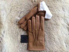 Men's Winter Leather Gloves Deerskin with rabbit fur lining Tan Brown