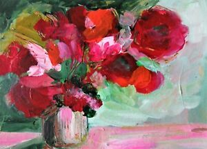 Original Acrylic Painting Red Flowers in a Vase on Paper Still Life Art No 1