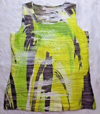 Laura Ashley Womens Tank Top PS Yellow Black Texture Sleeveless Embellished