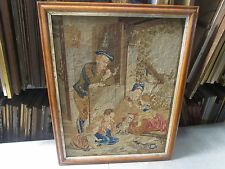 "Antique Needlepoint Hand Made Stitched Micro Petite Point 23"" x 29"" - 25"" x 32"""