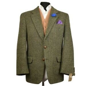 Harris Tweed Tailored Herringbone Country Blazer Jacket 42S #827 SUPERB